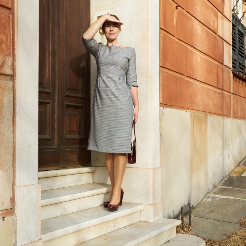 1959 houndstooth pencil dress