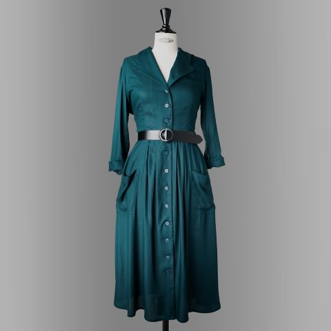ELBE shirtwaist dress peacock and storm
