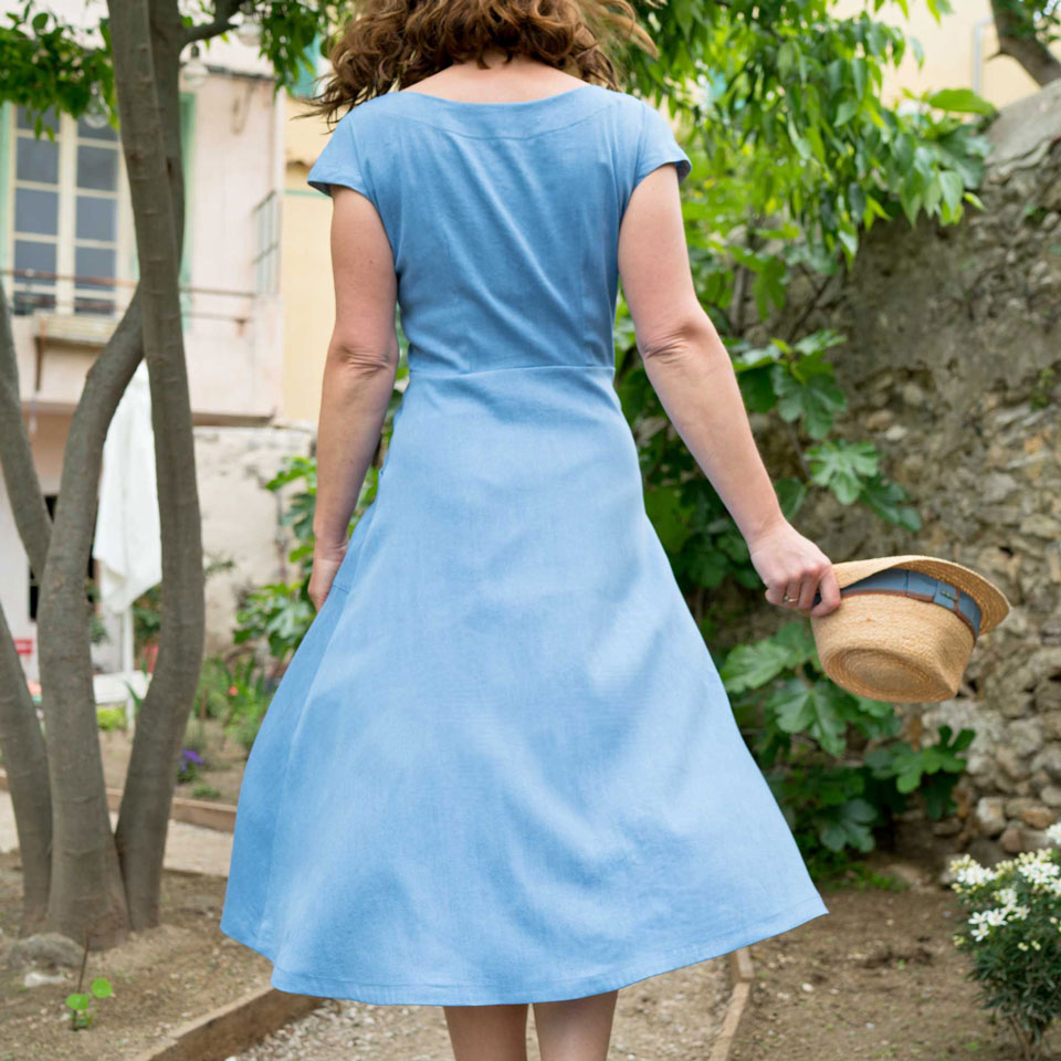 1950s fit and flare dress back view